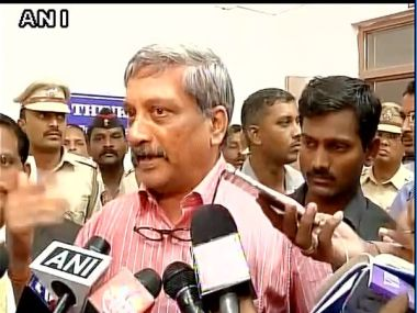 Union defence minister Manohar Parrikar speaking with reporters on Pulgaon fire. Image courtesy: ANI/Twitter