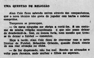 Diario de Pernambuco noticiou negativa de Cole de cortar cabelos, mas traduziu incorretamente sua religião - Reprodução/Diario de Pernambuco
