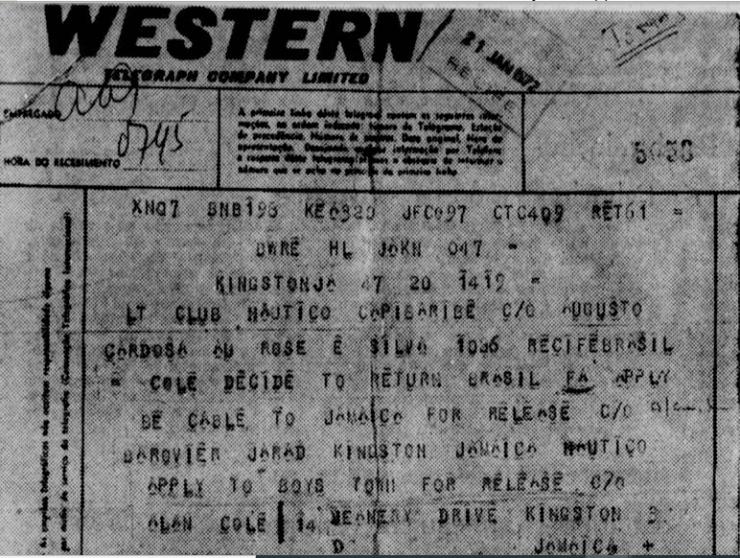 Allan Cole enviou telegrama ao Náutico para anunciar que queria voltar - Arquivo/Diario de Pernambuco