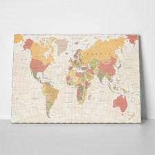 Πίνακας DETAILED ILLUSTRATION WORLD MAP