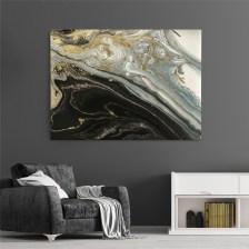 Πίνακας σε καμβά BLACK AND GOLD ABSTRACT