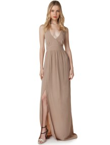 Maxi φόρεμα με χιαστί πλάτη - ΣΚΟΥΡΟ ΜΠΕΖ