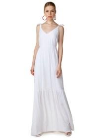Maxi φόρεμα με δέσιμο στους ώμους - ΛΕΥΚΟ