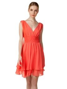 Φόρεμα από μουσελίνα με βολάν - ΚΟΡΑΛΙ