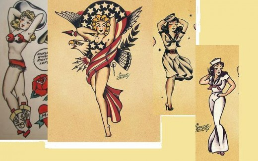 Classic pin-ups by Sailor Jerry
