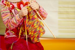 Kids can learn to knit at an early age.