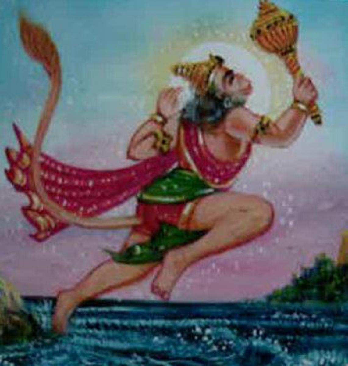 Picture depicting verse 21 of the Hanuman Chalisa