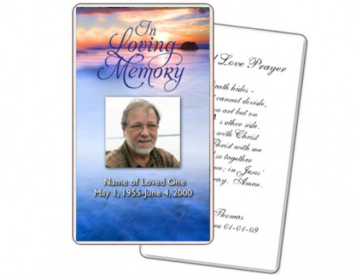 funeral prayer cards templates free download