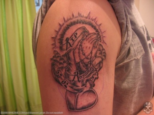 R.I.P.. Finally, the last type of memorial tattoo is the simply stated,