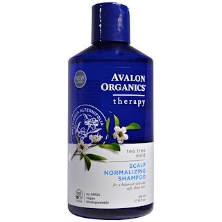 Avalon Organics, Scalp Normalizing Shampoo, Tea Tree Mint Therapy, 14 أونصة سائلة (414 مل) افضل منتجات اي هيرب للشعر