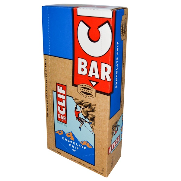 Clif Bar, Energy Bar, Chocolate Chip, 12 Bars, 2.4 oz (68 g) Each
