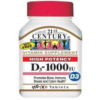21st Century, ビタミンD3, 高効力, 1,000 IU, 110錠