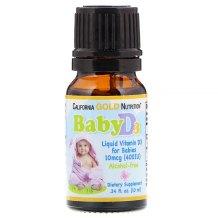 California Gold Nutrition, Gouttes de vitamine D3 pour bébé, 10 mcg (400 UI), 10 ml (0,34 fl oz)