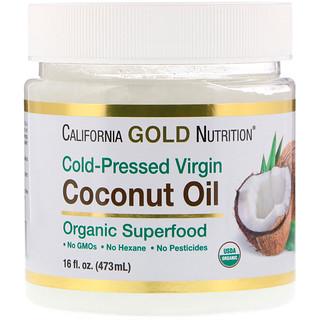 California Gold Nutrition, زيت جوز هند عضوي بكر، طعام فائق القيمة الغذائية، مُستخلص على البارد، غير مُكرر، 16 أونصة سائلة (473 مل)