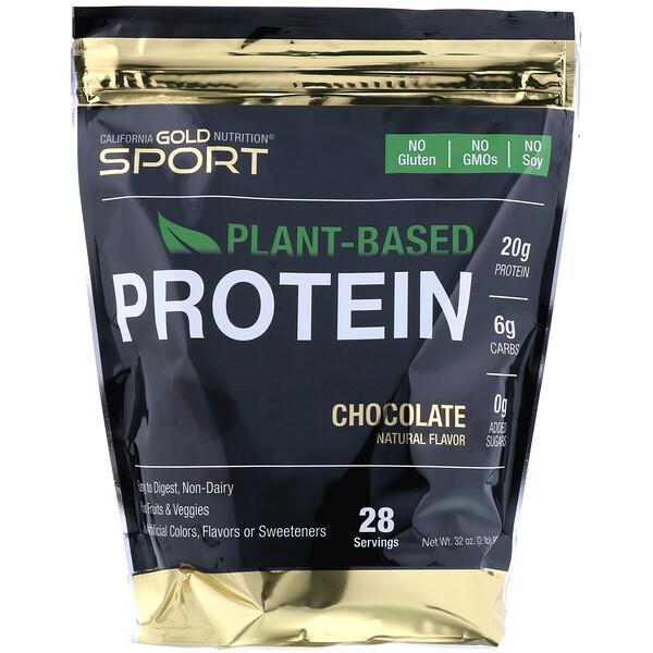 California Gold Nutrition, チョコレート植物由来プロテイン、植物性、消化しやすい、907g(2lb)