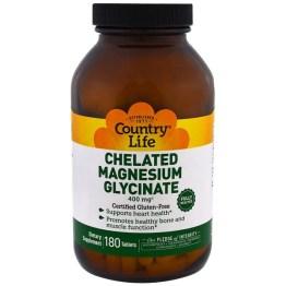 Country Life, キレート化グリシン酸マグネシウム, 180錠