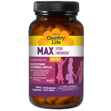 Country Life, Max for Women, Multivitamin & Mineral Complex, Iron Free, 120 Veggie Caps