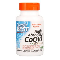 Doctor's Best, バイオペリン入りハイアブソープションCoQ10、200 mg、60野菜カプセル