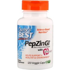 Doctor's Best, PepZin Gl、亜鉛-Lカルノシンコンプレックス、植物性粒 120粒