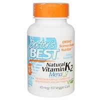 Doctor's Best. Natural Vitamin K2 MK7. with Mena Q7. 45 mcg. 60 Veggie Caps - iHerb.com