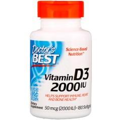Doctor's Best, ビタミンD3、50 mcg(2000 IU)、ソフトジェル180錠