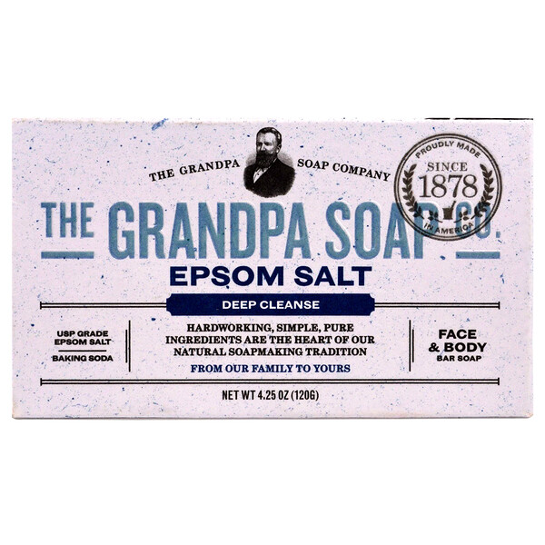 Grandpa's, フェイス&ボディーバーソープ、ディープクレンズ、エプソムソルト、4.25オンス(120 g)