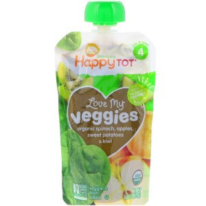 Happy Family Organics, Organics Happy Tot, Love My Veggies, Spinach, Apples, Sweet Potatoes & Kiwi, 4 Pouches - 4.22 oz (120 g) Each