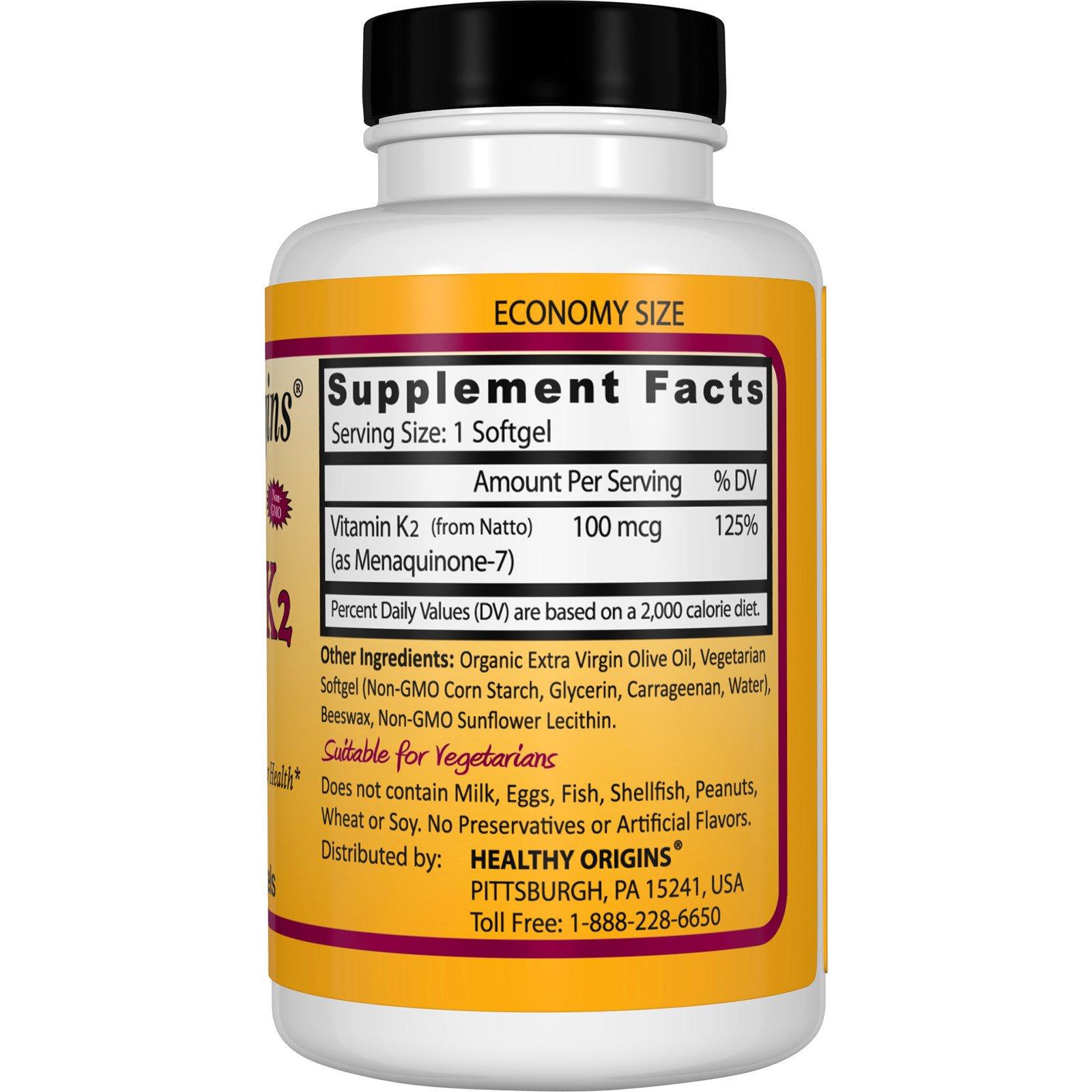 Healthy Origins. Vitamin K2 as MK-7. Natural. 100 mcg. 180 Veggie Softgels - iHerb.com