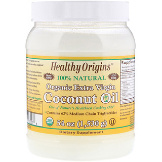 Healthy Origins, coconut oil البكر، 54 أونصة (1530 غ)