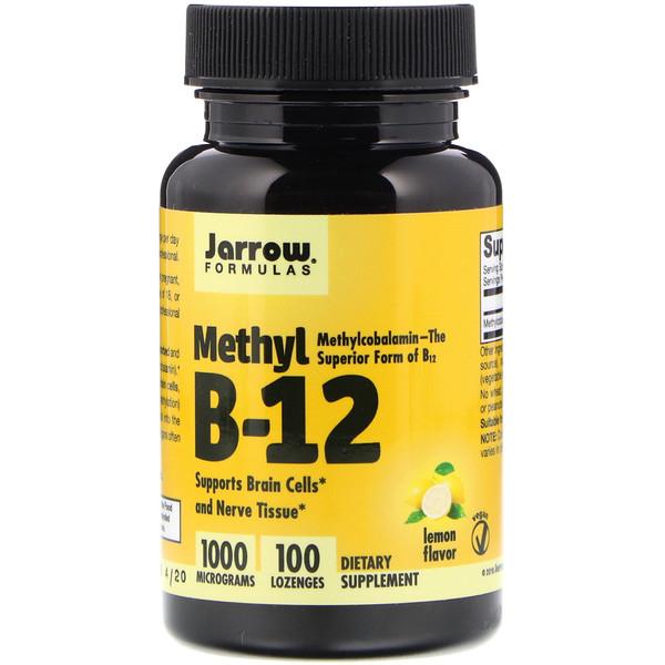 Jarrow Formulas, メチル B-12、レモン風味、1000 mcg、トローチ 100粒