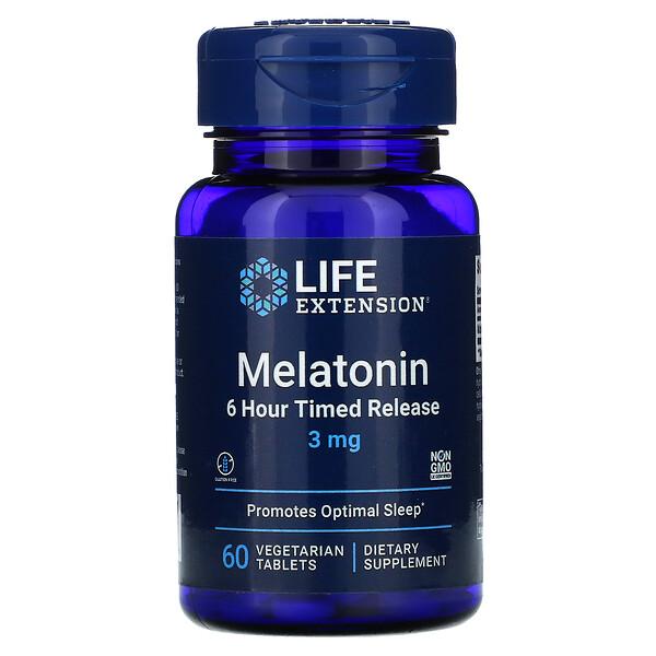 Life Extension, メラトニン、6時間持続放出、3mg、植物性タブレット60粒