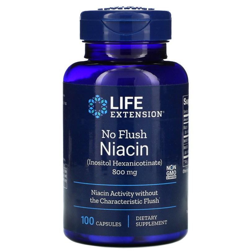 Life Extension, ノーフラッシュナイアシン、800mg、100粒
