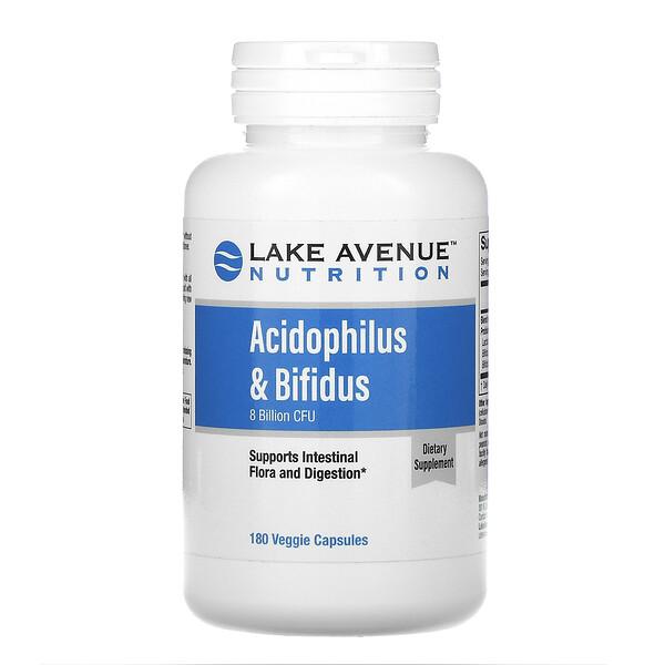 Lake Avenue Nutrition, 乳酸菌&ビフィズス菌、プロバイオティクスブレンド、80億CFU、ベジカプセル180粒