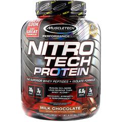 Muscletech, NitroTech، مصدر ممتاز من بروينات مصل اللبن الببتيدات والمعزولة، الشوكولا بالحليب، 4.00 رطل (1.81 كجم)