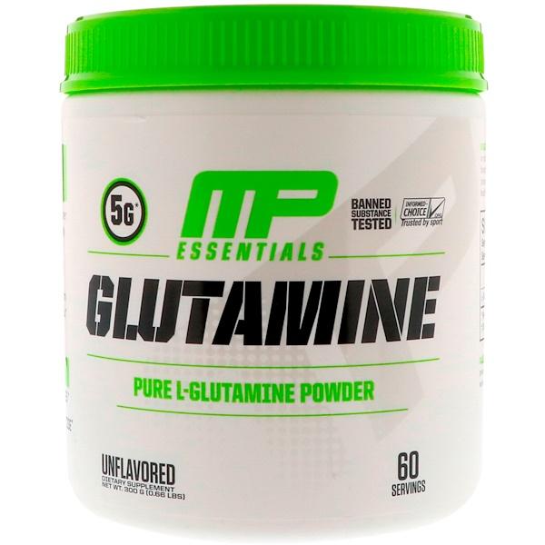MusclePharm, グルタミンエッセンシャルズ、無味、0.66ポンド (300 g)