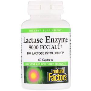 Natural Factors, ラクターゼ酵素, 9000 FCC ALU, 60 カプセル