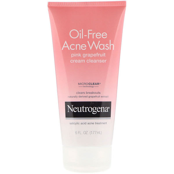 Neutrogena. Oil-Free Acne Wash. Pink Grapefruit Cream Cleanser. 6 fl oz (177 ml) - iHerb