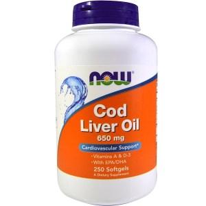 Now Foods, タラの肝油, 二倍の強さ, 650 mg, 250ソフトゼリー