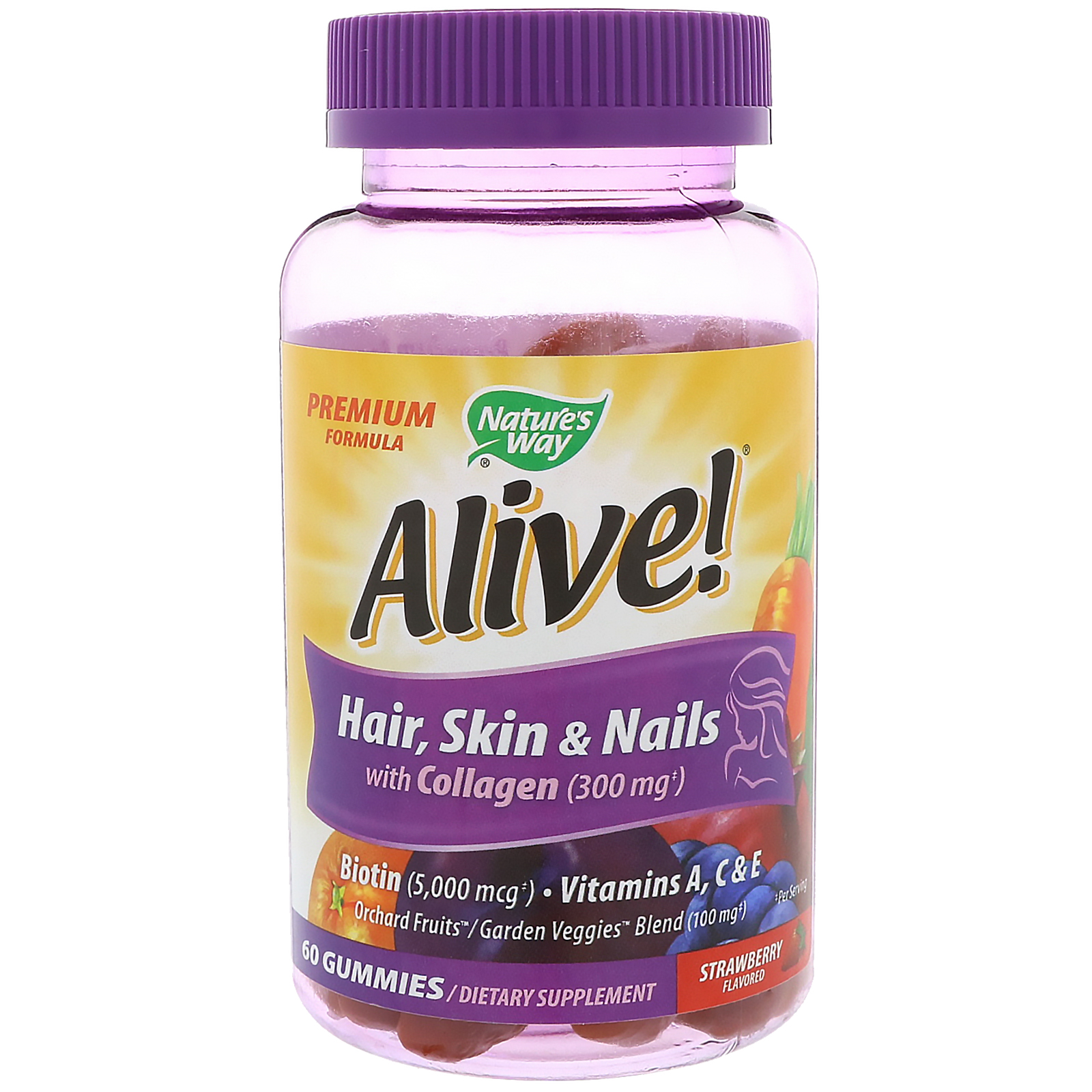 Nature S Way Alive Hair Skin Amp Nails With Collagen Strawberry Flavored 60 Gummies