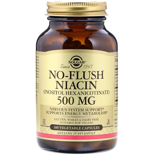 Solgar, ノーフラッシュ ナイアシン、500 mg、野菜カプセル100個