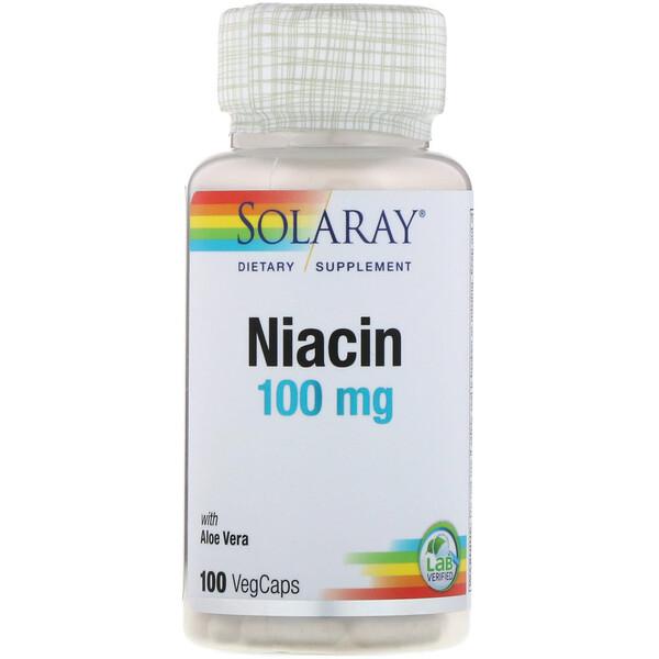 Solaray, ナイアシン、100mg、植物性カプセル100粒