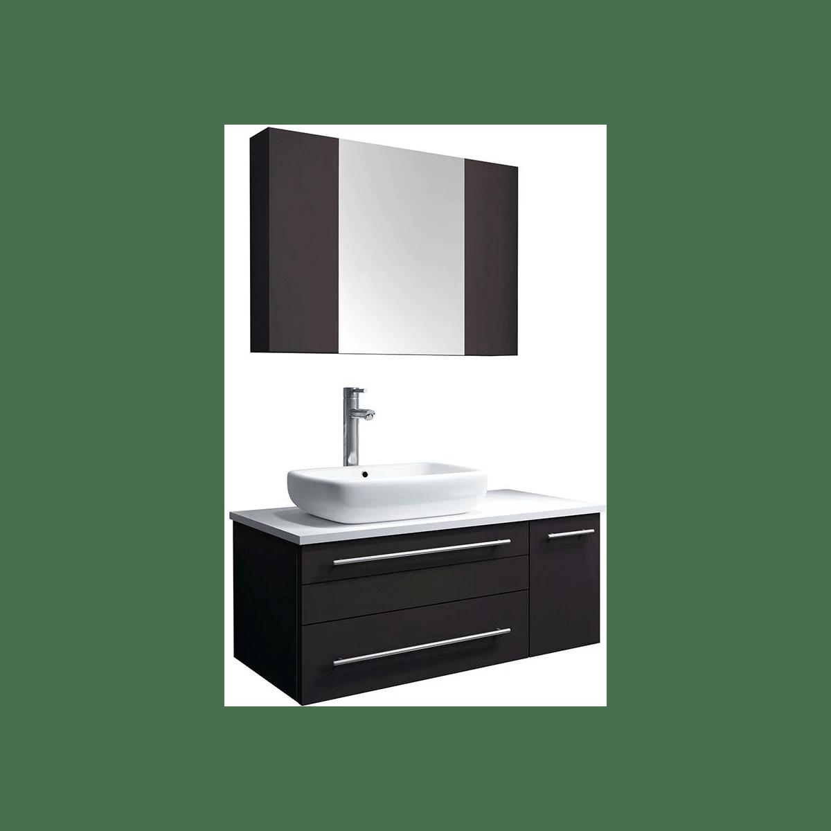 Fresca Fvn6136es Vsl L Espresso Stella 36 Wall Mounted Single Right Basin Vanity Set With Wood Cabinet Quartz Vanity Top Medicine Cabinet Faucet And Frameless Mirror Faucet Com