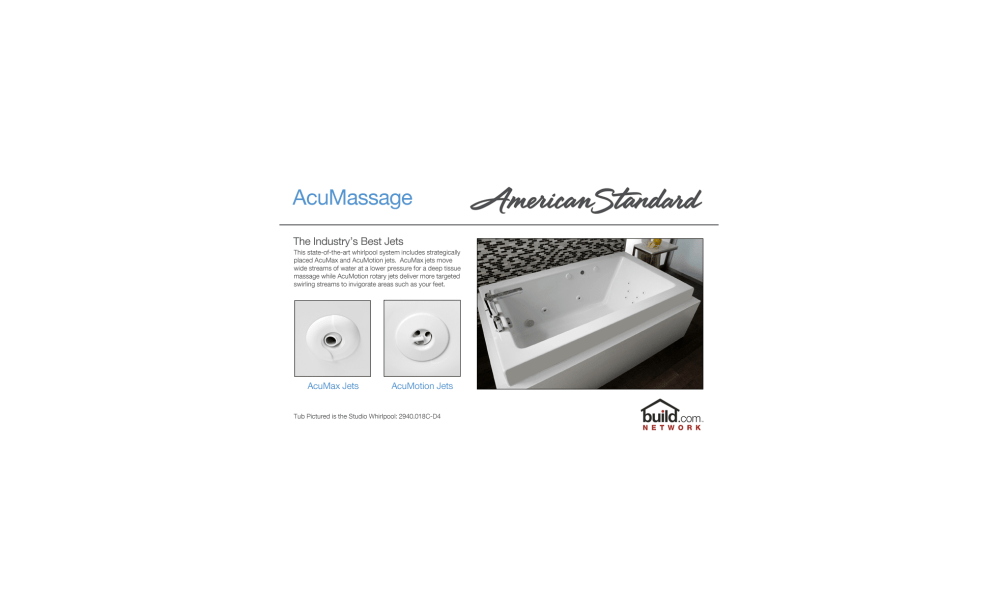 medium resolution of american standard 2772 018w 020 white cadet 60 acrylic whirlpool bathtub with reversible drain and acumassage jets faucetdirect com