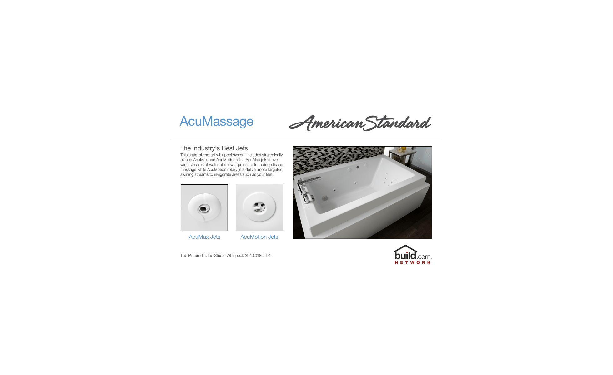 hight resolution of american standard 2772 018w 020 white cadet 60 acrylic whirlpool bathtub with reversible drain and acumassage jets faucetdirect com