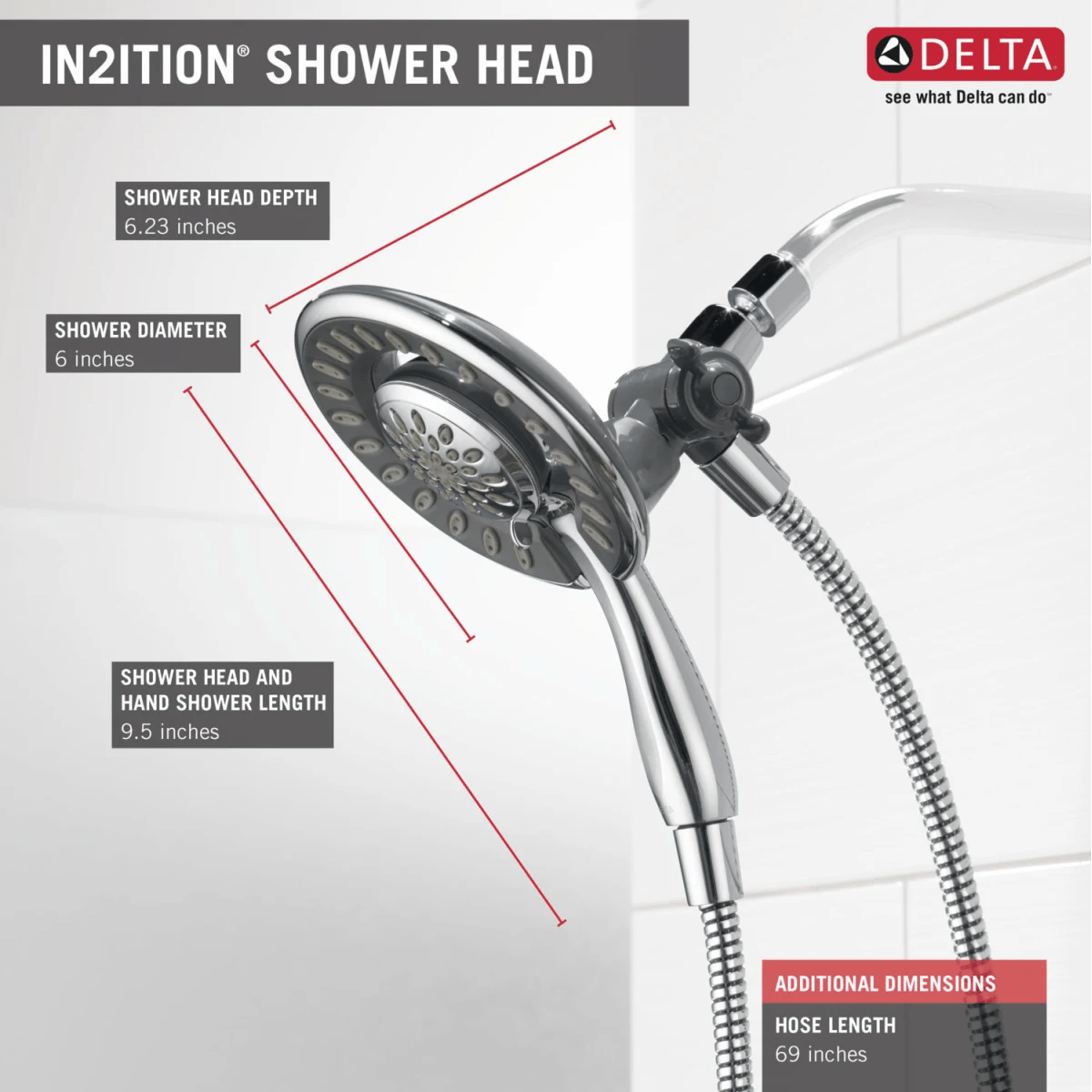 hight resolution of delta 58045 chrome in2ition 2 in 1 shower head and hand shower with 5 spray settings includes shower hose and shower arm mount faucetdirect com