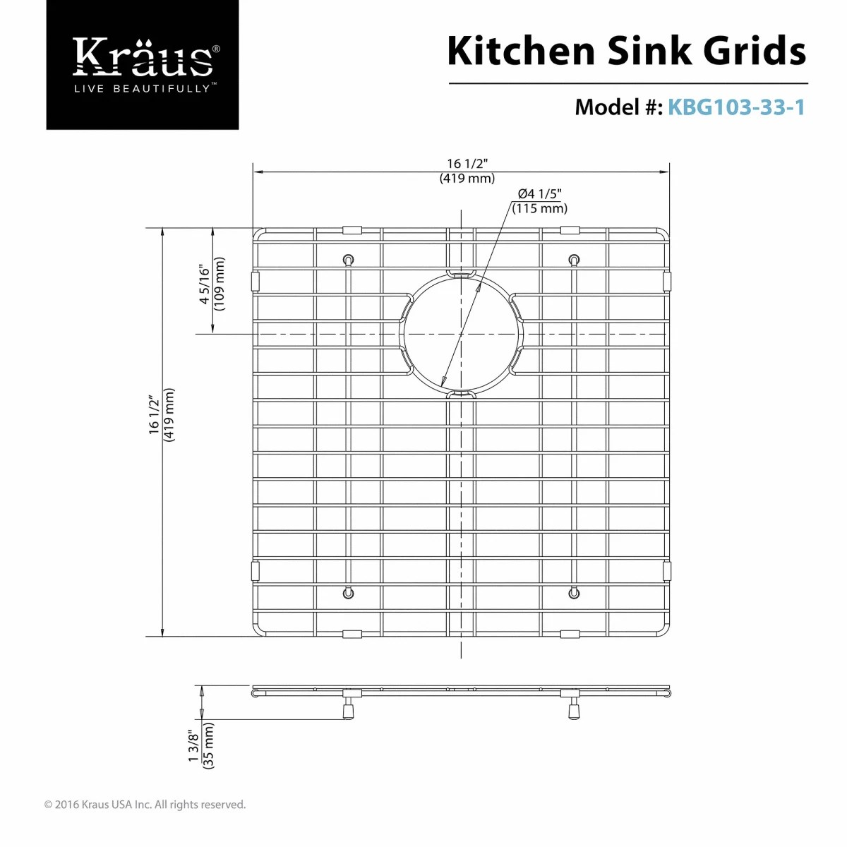 hight resolution of kraus kbg 103 33 1 stainless steel left bowl stainless steel bottom grid for kraus khu 103 33 1 kitchen sink faucet com