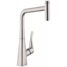 hansgrohe kitchen faucet refrigerator for small faucets at faucetdirect com metris select high arc pull out with on off push 14884