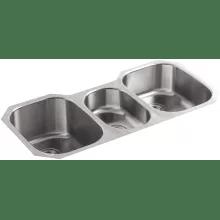 triple sink kitchen unassembled cabinets bowl sinks undertone 42 basin under mount 18 gauge stainless steel with