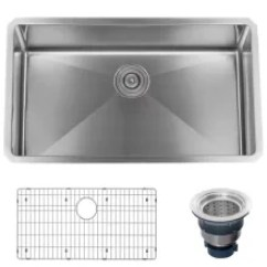 Gray Kitchen Sink Chandelier Ideas Sinks At Faucetdirect Com 32 Undermount Single Basin Stainless Steel Drain Assembly And Fitted Rack