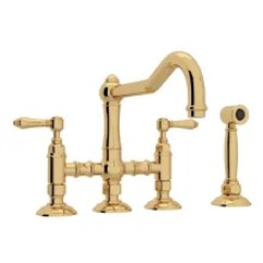 Bridge Faucets Kitchen Copper Backsplash Style At Faucet Com Italian Acqui 1 2 Gpm With Two Lever Metal Handles Includes Sidespray